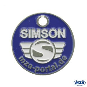 Einkaufwagenchip aus Metall mit Logo, beidseitig geprägt - inkl. Ring mit Karabinerhaken