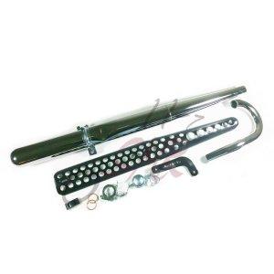 Auspuff Tuning Komlpettset Enduro 32mm schwarz  mit Hitzeschutz, Haltestrebe,Krümmer und Anbauteilen