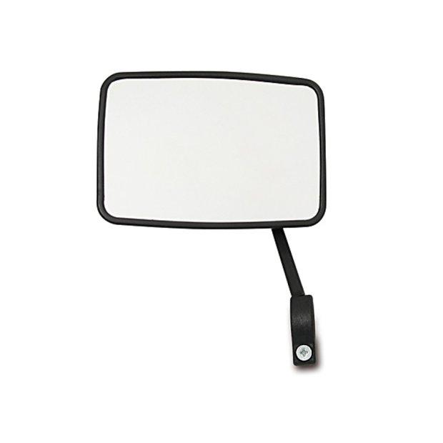 Rückblickspiegel, links - schwarz, eckig, Kunststoff-Spiegelschale, Alu- Spiegelarm mit Außenrohrklemmung