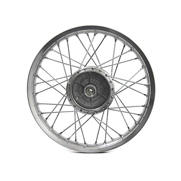Speichenrad 1,5x16  Zoll Alufelge poliert Edelstahlspeichen (Radnabe: Graugussbremsring (GG), abgedrehte Flanken) Simson