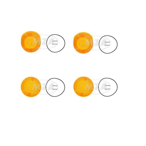 Set Lichtaustritt vorn und hinten, Blinkerkappe Ø80 mm, orange, inkl. Gummidichtring + Schrauben