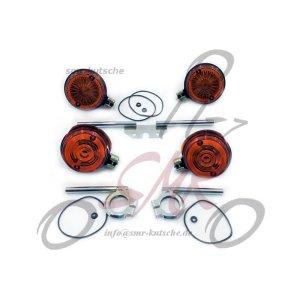 Blinker mit E-Zeichen und Blinkerhalter S50, S51, S70 vorn und hinten für runde Blinker