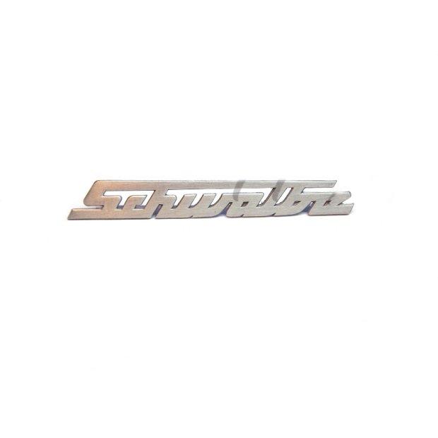 Schriftzug - Schwalbe - Aluminium, silber, gerade (nicht gebogen) für Knieschutzblech (Beinblech) - KR51.