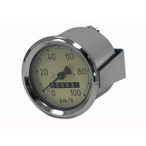 Tachometer AS 60mm - RT125/1 - (100 Km/h) - k-Wert= 1,0 - mit Beleuchtung, Haltklammer und Plastikmutter