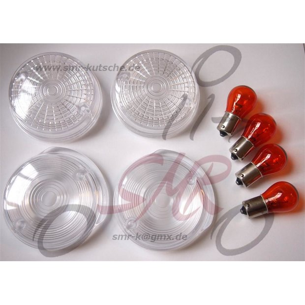 SET Blinkerkappen rund weiß incl. Glühbirnen SR50, S51 (6Volt)