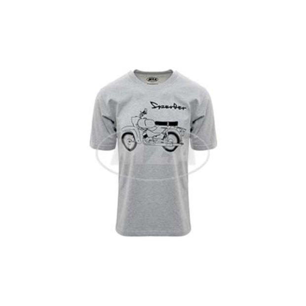 T-Shirt hellgrau meliert, Motiv: Sperber