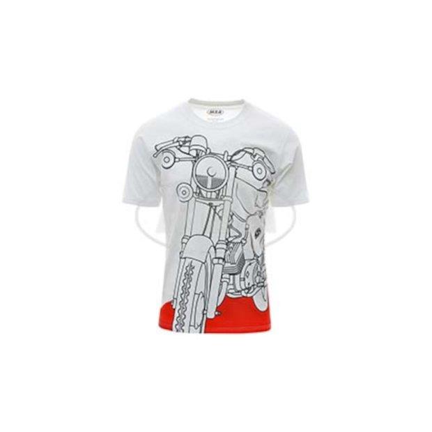 T-Shirt weiß, Motiv: S51 auf Flammrot